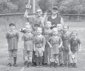 CHAMPIONS — The Fleming-Neon Little League Cubs won first place at a T-ball tournament held June 11. Pictured are (front row, from left) Jaden Wright, Sidney Huckaby, Delaney Pennell, Jackson Huckaby, Levi Sparks, (middle row) Max Roark, Bryson Taylor, Kristian Potter, Kainan Ritchie, Savannah Wright, (back row) Manager Mike Wright and Coach Tara Whitt Ritchie. Not pictured are Lindsay Anderson, Jaylin Whitt, Michael Pettyjohn, Suzanna Taylor and Jason Talyor.
