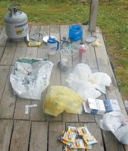 Police recovered these components used to make the illegal drug methamphetamine after conducting a 'knock and talk' at Cromona.