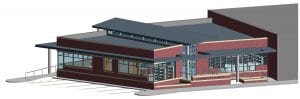 Pictured above is the artchitect's rendering of the front and one side of a new library that will be constructed in the City of Fleming-Neon. The drawing was provided by the offices of Whitesburg architect Bill Richardson.