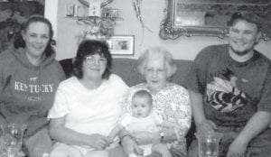Pictured are five generations of the family of Eunice Webb of Neon. From left to right are Marie Yonts of Eureka Springs, Ark.; Brenda Yates of Pembroke; Eunice Webb holding Rylee Jane Stites, who is 10 months old; and Tommy Lee Stites of Pembroke.