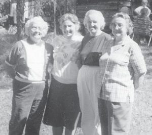 Martha Dixon Burns, Oma Howard Hatton, Joann Back Walters and Hope Back Campbell started school together in 1936. They are pictured at an Elk Creek reunion a few years back.