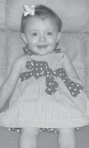 turned 13 months old on Sept. 18. She is the daughter of Sheblena and Derrick Adams. Her grandparents are Debra Seals and Chris and Diane Sexton, and her great-grandparents are Dennis and Shelby Seals and L.C. and Joyce Adams.