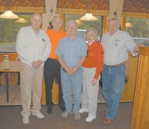The 1951 Whitesburg High School boys basketball team reunited Sept. 23 at Pine Mountain Grill. The basketball team, which was the second boys' basketball team from Whitesburg to play in the state tournament, made it to the Final Four at Memorial Coliseum in Lexington. The group was coached by Ray Pigman, who had played on the 1936 team, which was the first Whitesburg team to make it to the state tournament. Pictured from left are Steven Carroll Sexton of Thornton, Eddie B. Collins of Mansfield, Tex., Ronnie Kincer of Lexington, Shirley Fields Hall of Lexington and Roe Adkins of Viper. Mrs. Hall is the only surviving cheerleader of the 1951 WHS cheerleading squad.
