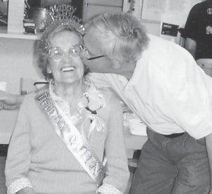 — Jim Craft gave Ruby Caudill a kiss at her 99th birthday party. Ermine Center correspondent Lizzie M. Wright says he gives her kiss every day, and that she is 99 years young.