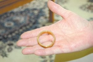 Maxine Bates Quillen held a replica of a size 22 circus ring belonging to her great uncle, Captain Martin Van Buren Bates, who was seven feet, nine inches tall.
