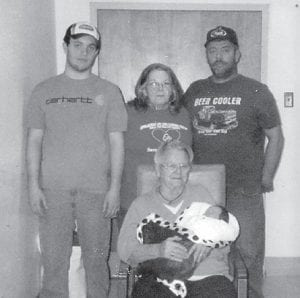 — Pictured are five generations of the Ison family. Seated is Rhetha Ison of Hallie, holding her greatgreat grandson, Jaydon Shelby Akemon. Standing (left to right) are Jaydon's father, William Akemon of Cornettsville; Jaydon's great-grandmother, Frona Akemon of Hallie; and Jaydon's grandfather, Shelby Akemon Jr. of Hallie.