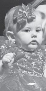 CHARLEIGH ALEXIS CAUDILL, nine- month- old daughter of Jessica and Jason Caudill of Blackey, recently participated in the Mountain Heritage Baby Pageant where she was the winner of Most Photogenic in her category. She is the granddaughter of Michael and Connie Slone of Jeremiah, and Danny and Sherry Caudill of Pratts Branch.