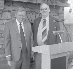 — Jim McDannel (right) and Larry Martin (left), guests of Rotarian Jack Burkich, presented a program on NET Recovery, a abstinence-based drug addiction treatment program, to members of the Rotary Club of Whitesburg. The NET Recovery program uses NeuroElectric Therapy to deliver low levels of electrical stimulation to detoxify patients and remove drug cravings and restore mental acuity in as little as even to 10 days. The NET program is currently operating in Perry County. Commonwealth Compassion Bridge, a Kentucky-based non-profit organization, is supporting a trial of this program in Kentucky by sponsoring the study of 240 subjects to assess the impact of using this program on detoxification and on 3- and 6-month post-treatment abstinence rates for recovering addicts validated by drug testing. A review of a 2007 open pilot of this program in eastern Kentucky suggests that 70 percent of recovering addicts were drug-free two years after treatment. For more information, visit www.netdevice.net.