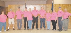 Fleming-Neon City Council members, police officers and workers wear pink to acknowledge Breast Cancer Awareness.