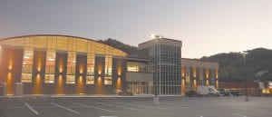 The Letcher County Recreation Center, pictured at dusk Sunday, was designed by Summit Engineering of Pikeville and built on the old A&P grocery site in Whitesburg.