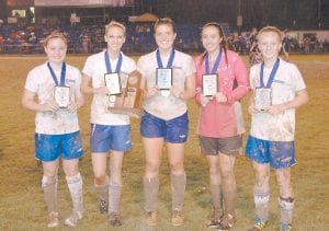 These five Letcher County Central girls' soccer players were named to the 2011 All District Team after they helped to defeat Perry Central to win the 32nd District Tournament October 13. Pictured are (left to right) Carlie Combs, Lindsey Kincer, Arianna Collins, Jasmine Glispie, and Meg Raleigh.