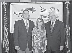 — Jim Tackett (left), executive director of Forward in the Fifth, announced Jenkins Independent Board of Education will receive a $1,500 Local Educational Affiliate Program (LEAP) grant to establish a College and Career Ready program in partnership with the University of Pikeville. Also pictured are Jenkins Supt. Debby Watts and U.S. Congressman Harold 'Hal' Rogers (KY-05).
