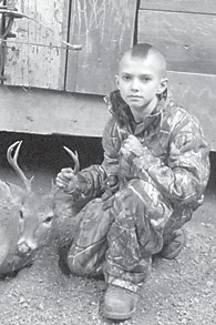 — Kane Gibson killed his first buck, a sevenpoint deer, with a crossbow. He is the son of Owen and Nikki Gibson of Cowan, and grandson of Leonard and Kay Boggs, also of Cowan; Codell and Debbie Gibson of Craft's Colly, and Carlene and Kenneth Oliver of Columbia. He has an older brother, Owen II.