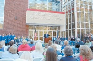 Letcher County Judge/Executive Jim Ward spoke to a large crowd Saturday afternoon during a ribbon-cutting ceremony for the Letcher County Recreation Center.