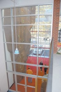 The 34-foot-tall climbing wall can be seen from the second floor of the Letcher County Recreation Center.