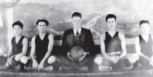 Whitesburg High School's first male basketball team 1922- 23 consisted of Watson Caudill, Willie Fields, Charlie Blair (Coach), Gordon Gault, and Gordon Lewis.