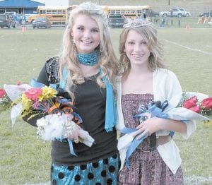 Ashley Shae Benton (left), daughter of Tony and Katina Benton of Whitesburg, was recently crowned the Whitesburg Middle School 2011 Football Homecoming Queen. Ashley's cousin, Baleigh Dotson, daughter of Jimmy and Nicole Dotson of Kingscreek, was recently crowned the Cowan Middle School 2011 Football Homecoming Queen.