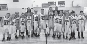 Martha Jane Potter Elementary School was the winner of the Letcher County Elementary Athletic Association C-Team Tournament. Pictured are (left to right) Sheyenne Short, Emileigh Boggs, Brooklyn Collins, Kaylee Bentley, Makayla Brock, Alyssa Franklin, Shania Combs, Ally Ison, Kyra Johnson, Isabella Hampton, Ryley Hampton, Amy Stamper and Amanda Stamper. Behind them are their coaches, Angie Hampton and Bumper Adams.