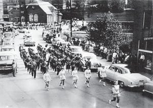 The Whitesburg High School 1954-55 Marching Band led by Phyllis Hall. Majorettes are (left to right) Barbara Holstein, Elaina Holstein, Ann Cox, Rusty Combs and Carol F. Brown.