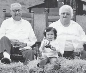 Earl and Betty Terry of Eolia, celebrated their 60th wedding anniversary on August 20, which was also her birthday. The couple have two daughters, Jan Sexton and Joy Bailey, both of Eolia. They are pictured with their 21-month-old great-granddaughter, Maggie Elizabeth Little of Cowan.