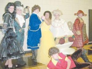 The Whitesburg Middle School UNITE Club will present 'Beauty and the Beast' on Monday and Tuesday, Nov. 21 and 22, at 9:30 a.m. and 12:30 p.m. There will be an evening performance on Monday at 6:30 p.m. The day performances are free and the evening performance is $5. Cast members include (left to right) Tessa Stewart, Feather Duster; Ashley Benton, Lumiere; Hawk Vance, the Beast; Bayley Amburgey, Belle; Tori Ison, Mrs. Potts; Austin Amburgey, Cogsworth; and Aaron Thomas, Gaston.