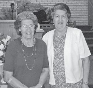 """Dorthy Tackett is pictured with her sister Linda Pennington Hall. Whitesburg correspondent Oma Hatton says, """"If there is ever a funeral for a Marlowe person, these two are there. They were at the funeral of Sherry Hatton Fields."""""""