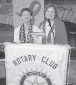 a 16-year breast cancer survivor, spoke to the Whitesburg Rotary Club recently. She is an area trainer for the Reach to Recovery Program, the longest running program of the American Cancer Society, and is an area marketing representative for Whitaker Bank. Pictured are Amburgey (left) and Rotary President Margaret Hammonds.