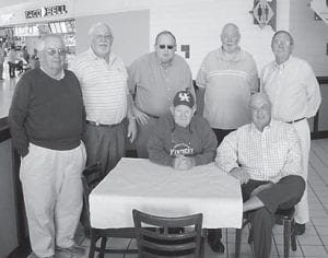 Pictured are some former students of Jack Taylor. From left to right are Mike Adams, Dr. John Rodgers, James Reynolds, Johnny Doyle and Doug Polly. Sitting are Jack Taylor and Don Webb.