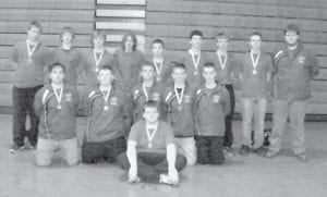 Members of the Letcher County Central High School wrestling team participated in the 2011 Nick Cory Takedown Tournament hosted by Perry County Central High School on Nov. 19. Members of the team received medals ranging from first to fourth place. Pictured are (back row, left to right) Dakota Green, Clay Caudill, Ethan Riley, Nathan White, Logan Fisher, Dystyn Reinstetle, Bobby McKenzie, Hunter Holbrook, Coach James Ferriel Baker, (middle row) Ethan Hogg, C.J. Philpot, Jordan Gibson, Justin Gross, Brandon Gibson and (front) Kevin Calzadillas.