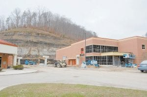 """Construction on the new Letcher County Area Technology Center is entering its final stages. Builders say the $8.9 million complex adjacent to Letcher County Central High School should be finished by Jan. 11. """"We're about to wrap this thing up,"""" construction manager Chris Russell told the Letcher County Board of Education on Monday. Students will begin using the building in early spring. See related story inside. (Eagle photo)"""