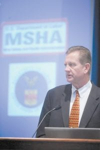 Kevin Stricklin, an official with the U.S. Department of Labor's Mine Safety and Health Administration, spoke during a public hearing Tuesday in Beaver, W.Va (AP Photo)