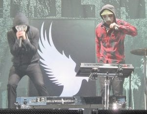 """Members of the Los Angeles rap rock band Hollywood Undead perform. The band was one of four who played the Eastern Kentucky Expo Center in Pikeville as part of Avenged Sevenfold's """"Buried Alive Tour."""""""