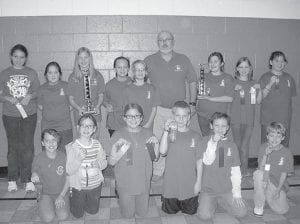 The Cowan Elementary School academic team finished second in quick recall and second overall in the Letcher County Elementary Academic Tournament held Nov. 28 and 29 at Beckham Bates Elementary School. Olivia Hammock was first in arts and humanities and fifth in language arts, Bethanie Monroe was third in arts and humanities, Hannah Caudill was third in social studies, and Makenzie Adams was fifth in English composition. Pictured are (back row, left to right) Bethanie Monroe, Future Fields, Haley Banks, Makenzie Adams, Gracie Ramey, Coach Gary Sturgill, Laken Caudill, Hannah Caudill, Jeanna Roark, (front row) Destiny Eldridge, Bailey Smith, Olivia Hammock, Zach Cornett, Hunter Lowe and Haydon Caudill.