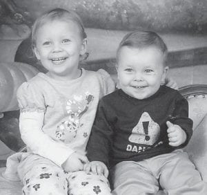 — Gavin Tyler Guthrie turned two years old on Dec. 2 and celebrated his birthday with a Disney Pixar Cars party. He is pictured with his sister, Jasmine Nicole Guthrie, 3. Their parents are Billy and Tammy Guthrie of Colson. They are the grandchildren of Bert and Carolyn Hurt of Colson, and William and Nancy Guthrie of Hope, Ind., and great-grandchildren of Nora Logan of Colson. They have a half-brother, Zane Guthrie, 9, of Indiana.