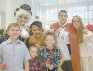 was presented by the Whitesburg Middle School UNITE Club Nov. 21 and 22. Pictured are (left to right) David Benning, Ashley Benton as Lumiere, Bayley Amburgey as Belle, Jade Burton, Hawk Vance as the Beast, and Tori Ison as Ms. Potts.