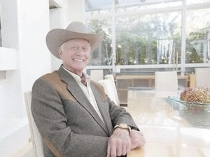 """Actor Larry Hagman smiled during an interview on location during the filming for the upcoming new series """"Dallas"""" in Dallas. (AP Photo)"""