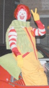 Ronald McDonald was on hand as Whitesburg Mc- Donald's employees handed out packages of cookies and stickers to parade watchers.