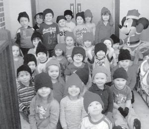 Students at Mayking Head Start are pictured wearing winter hats and gloves presented to them by Shirley B. Sexton.
