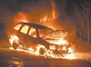 This 2008 Chevrolet Trailblazer was destroyed by fire next to the Thornton Community Park Tuesday night. Larry Baker said he was driving to Whitesburg from his home at Stinking Branch when he started to smell gasoline and saw smoke coming from the hood of the vehicle. He said flames exploded when he opened the hood to see what was going on. The Mayking Fire Dept. arrived at the scene about 8:15 p.m. and extinquished the fire. Baker said the SUV, which he shared with his wife, had just been in a body shop for repairs. (Photo by Ben Gish)