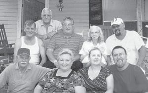 are (front, left to right) Bud Hatton, Vickie Underwood, Renee Campbell, Hazel Campbell, (middle) Billy Lee Hatton, Jamie Hatton, Hazel Hart, Ivan Hatton, (top) and Elzie Ray Hatton.