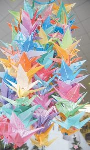 This round section contains 280 origami paper cranes folded by Mrs. Waddles and is on display at the Harry M. Caudill Memorial Library in Whitesburg. (Photos by Sally Barto)