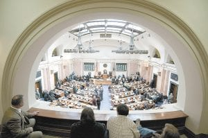 — The Kentucky House of Representatives conducted first-day business Tuesday in Frankfort. During the session the legislature will deal with redistricting, a budget shortfall, and a possible constitutional amendment dealing with expanded gambling. Related story inside. (AP Photo/John Flavell)