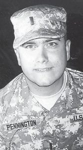 Brant Pennington is pictured in an older photograph, taken when he was in a training camp in Mississippi waiting for deployment to Iraq. He is married to Brandy Adams Pennington and is the son of Tanis and David Pennington. His grandparents are Gordon and Shirley Mclean of Sandlick and the late Bobby and Della Howard Pennington.
