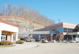 An elevated walkway, installed Jan. 5, connects Letcher County Central High School and the new Letcher County Area Technology Center. The $8.9 million complex adjacent to LCCHS is near completion.