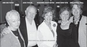 Pictured left to right are Ann Cox-Yates, Jack Taylor, Suzzanne Craft Bates, Janet Ison Tate, and Ann Daniel Hall, all former WHS band members, at the 2010 WHS Reunion.