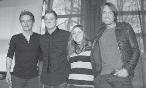 Leslie Strong of Hazard, daughter of Lisa and Donnie Strong, played with Richard Marx and Keith Urban at the #1 Party for Long Hot Summer on Jan. 25 in Nashville, Tenn. Pictured with them is another fan, Patrick Woolam from Kansas City, Mo.