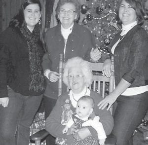 FIVE GENERATIONS of the Sturgill family attended the 90th birthday party of Margie Sturgill. Pictured are Margie Sturgill (seated) holding Cade Benehaley and (standing) Bethany Benehaley, Shirley Mullins, and Deborah Watts.