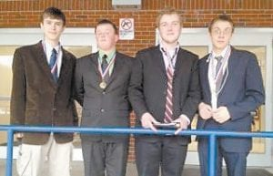 Isaac Gover and Drew Raleigh won first place and Zach Joseph and Josh Stephens placed second in the improv duo category of the regional competition of the Kentucky High School Speech League held at Knott County Central High School Feb. 4. Pictured from left are Joseph, Stephens, Raleigh and Gover.
