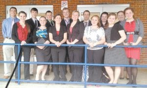The Letcher County Central High School speech team competed in the regional competition of the Kentucky High School Speech League held at Knott County Central High School Feb. 4. Pictured are (front row, from left) Abby Frazier, Crysta Warlick, Erica Webb, Mychaela Richardson, Cori Riffe, Savannah Reynolds, Dorothy Whitaker, (back row) Keaston Hall, Zach Joseph, Josh Stephens, Drew Raleigh, Isaac Gover, Tamara Stallard, and Hannah Maggard. Not pictured is Hannah Johnson.