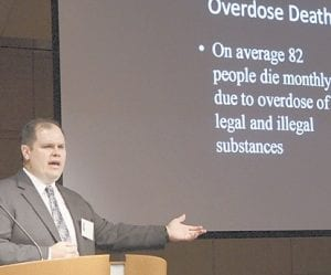 FBI intelligence analyst Anthony Carter spoke at the Kentucky Prescription Drug Abuse summit at the University of Kentucky hospital in Lexington last week. Speakers included Gov. Steve Beshear and various law enforcement and judicial officials. (AP Photo/Lexington Herald-Leader)